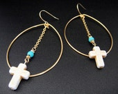 Boho Chic Hippie Gold Tear Drop Hoop Earrings with White Crosses and Turquoise and Gold Accents