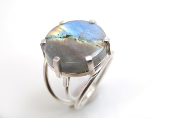 labradorite ring in sterling silver- handmade artisan jewelry- statement ring- Urban Storm