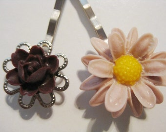 Burgundy Maroon Taupe Peach Floral Bobby Pin Set