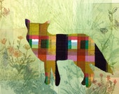 Hand-painted Plaid Coyote in Wildflowers Etching