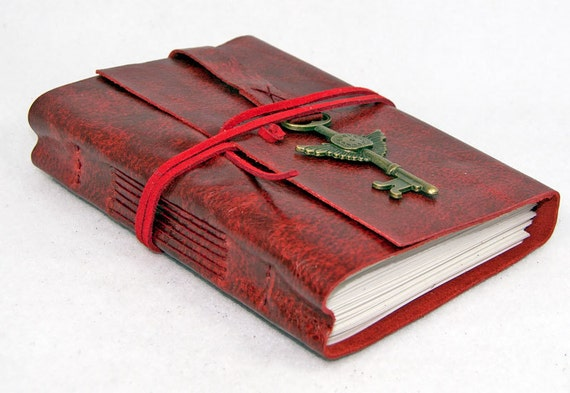 Red Leather Journal with Winged Clock Key Charm Bookmark