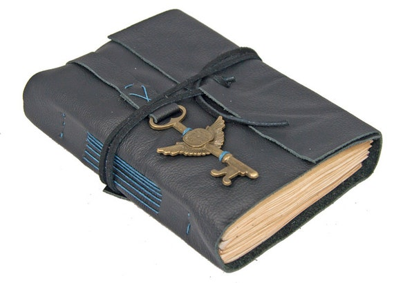 Black Leather Journal with Tea Stained Paper
