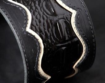 Leather Cuff Bracelet, Black Cuff:  Manhattan Cuff