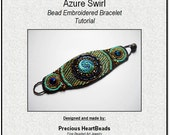 Tutorial Beading Pattern Bead Embroidery KIT (Instructions and materials) - Bracelet Cuff Turquoise Teal Blue - LiMITED EDITION