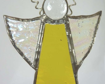 Stained Glass Christmas Angel, with Golden Yellow dress