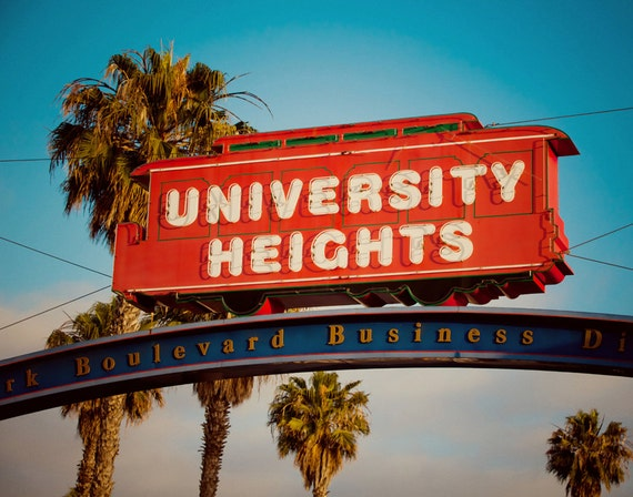 University Heights Trolley Car Neon Sign - San Diego Home Decor - Housewarming Gift - Sign Art - Fine Art Photography