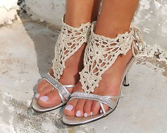 Crochet  barefoot CREAM nude shoes, Wedding, victorian lace, sexy, yoga, anklet, steampunk , foot jewelry, beach pool