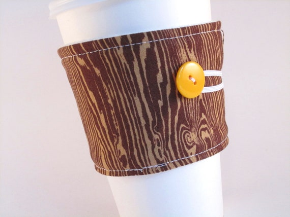 Coffee Sleeve Brown Wood Grain Coffee Cozy Unisex Men or Women