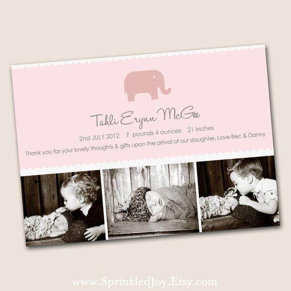 Adorable Baby Girl Birth Announcement, in pink 4x6, 5x7 or 6x7.5 DIGITAL file, with 3 photo slots and an cute elephant, print anywhere