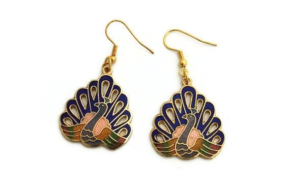 Peacock earrings enamel cloisonne blue black friday jewelry etsy