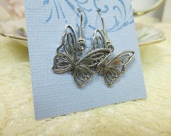 Butterfly Earrings Silver Angled Butterfly Earrings