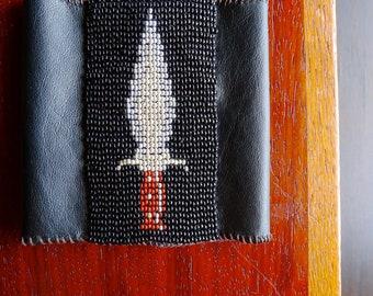 Men's Dagger Bracelet Wrist Cuff Beadwoven Armband with Black Leather