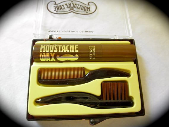 Vintage 1970's Mustache Care Kit Wax Comb Brush Case Cosmetco