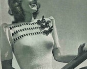 Bows, Bows and more Bows - ladies jumper c. 1940 - vintage knitting pattern PDF (450)