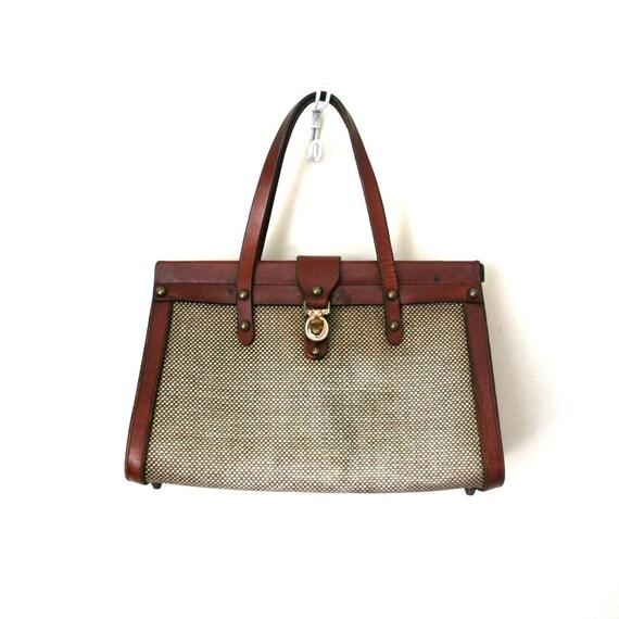 vintage handbag / purse JOHN ROMAIN imperfect TWEED preppy 1960's college girl