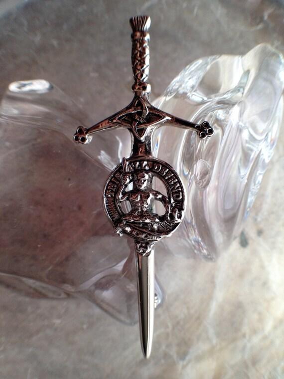 Vintage Clan MacFarlane Claymore Scottish  Kilt Pin