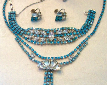 Unforgettable, Opulent AQUA & WHITE Rhinestone JULIANA Demi Parure Vintage Necklace, Bracelet, Earrings - Beyond Sensational