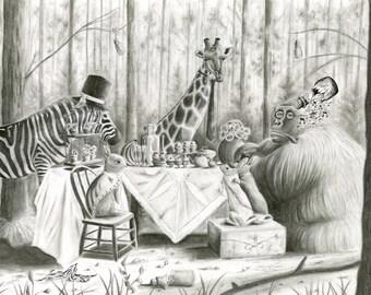 12x16 Animal High Tea Print