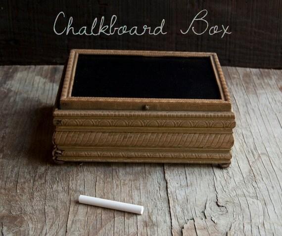 Chalkboard Jewelry Box - Wooden Vintage - Rustic