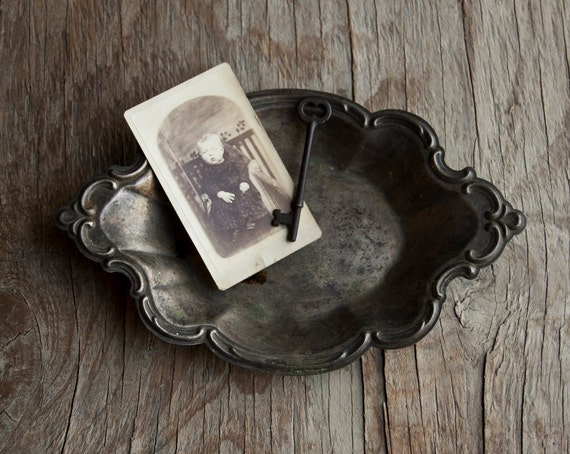 Silver Soap Dish -  Victorian Tray - Vintage Rustic
