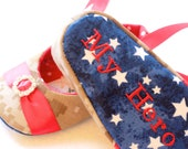 MILITARY RED PRINCESS, Baby Girl Shoes, Any Branch with Free Embroidery Personalization