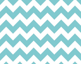 Riley Blake Chevron Stripes -  Aqua - 1 Yard -  Cotton  Fabric