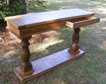 Console Table Or Desk Handcrafted Two Drawers Walnut Stained Finish Sofa Table