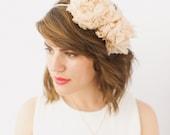 Bridal Floral Crown- Halo- w Peach Chiffon Handmade Flowers SALE