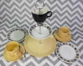 Kathy Winkle & Johnson Brothers Afternoon Tea for Two. 3 Tier Cake Stand and 2 x Cup, Saucer Plate Trio. Collectible Retro Design