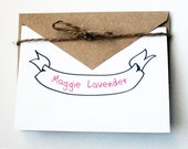 Personalized Stationery -- The Maggie -- Banner Stationery -- Girls, Ladies, Women -- Set of Cards & Envelopes- CHOOSE your QUANTITY