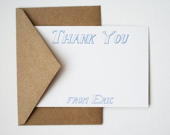 Personalized Stationery Thank You -- E R I C -- Set of Flat Notes and Envelopes- CHOOSE your QUANTITY
