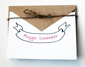 Personalized Stationery -- The Maggie -- Banner Stationery -- Set of Cards & Envelopes- CHOOSE your QUANTITY