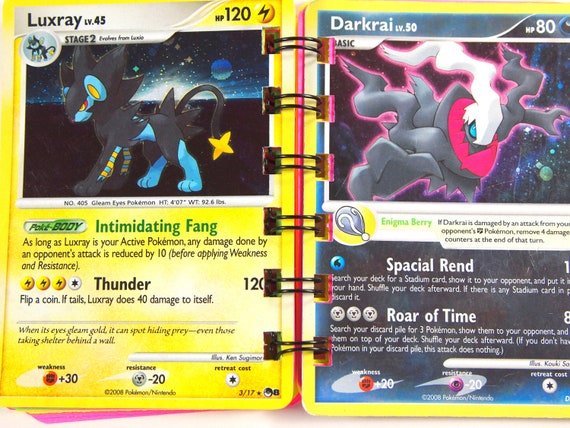 Upcycled Pokemon Notebook Upcycled Pokemon Notepad: Pokemon Darkrai and Luxray Trading Card Notebook