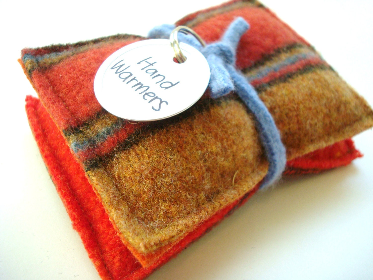 Pocket Hand Warmers Wool SUNSET STRIPES Reusable Rice
