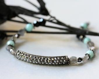 Black Diamond Pavé Bracelet, Beaded Bracelet, Beadwork Bracelet, Tennis Bracelet, Gemstone Bracelet, Bridal Jewelry, Modern, Mother's Day