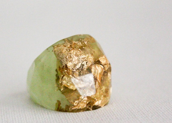 margarita green size 7 soft faceted eco resin ring with suspended gold leaf