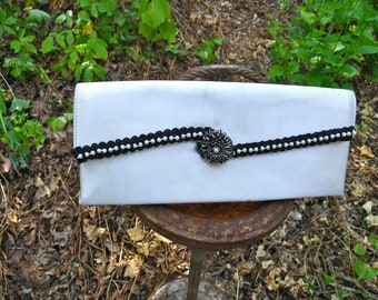 Vintage Ivory Satin Clutch with Black and Pearl Embellishment