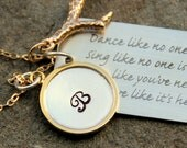 Dance Like No One is Watching Necklace Gold, Poetry Grad, Gold Initial Cursive Pendant, Love Like it is, Gift For Her, Valentine Jewelry