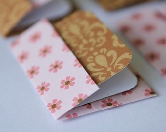 Mini Cards n Envelopes - Set of 8 - Tiny Fuschia Pink Flowers with Brown Designs