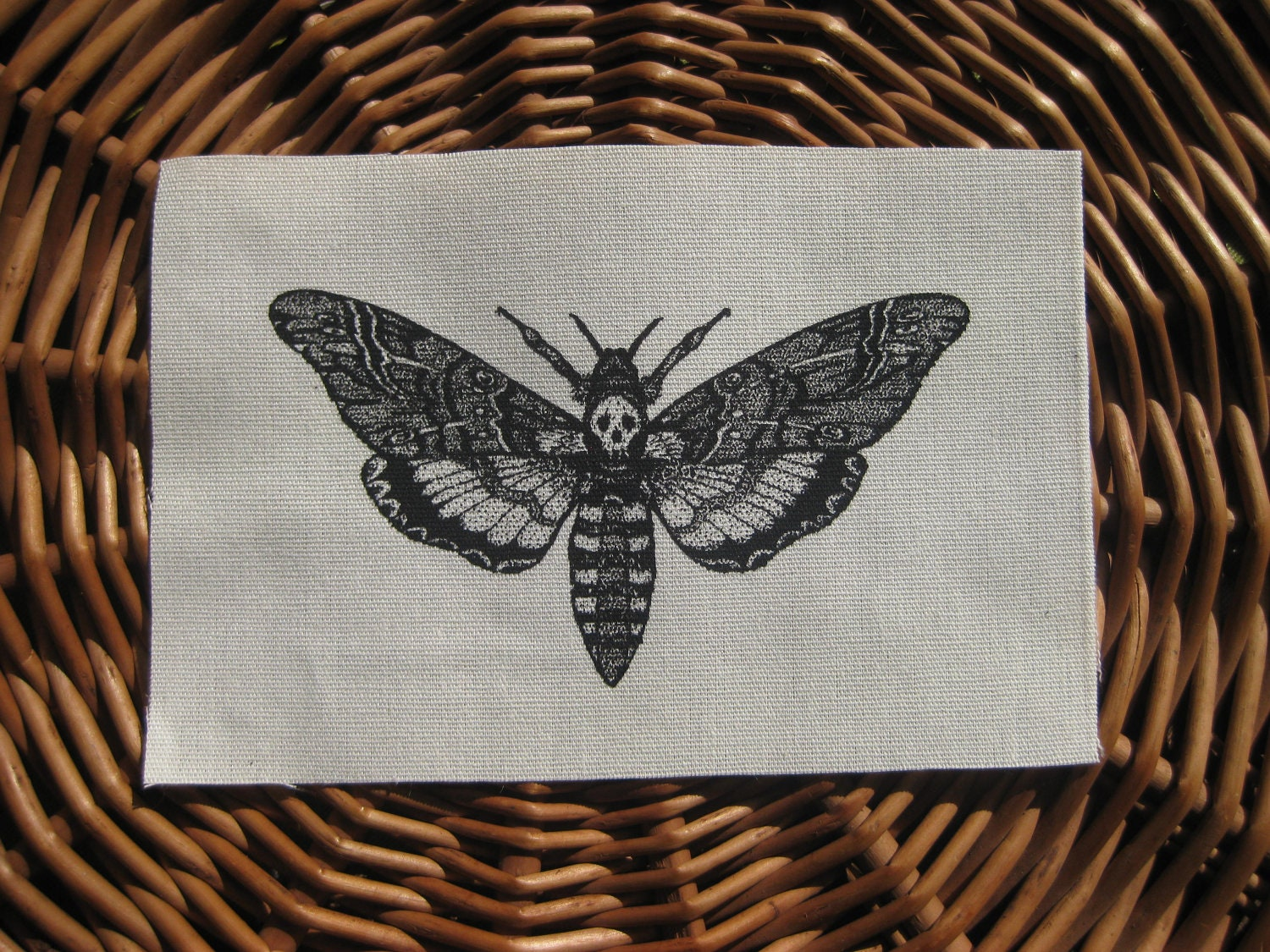 Items Similar To Death S Head Skull Moth Original Drawing Handmade Screen Printed Patch Black