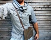 waxed canvas small day bag/satchel in brown(oak) with waxed brown leather adjustable strap