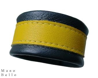 Leather Bracelet - Leather Cuff - Yellow Stripe - Gray - Non Metal Jewelry - Nautical Bracelet - Color Block - Striped Cuff -Preppy bracelet