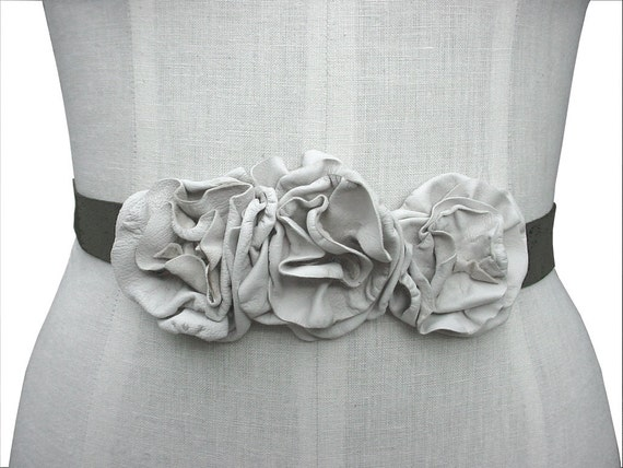 Leather Flowers  Sash Belt Headband or Choker Necklace or Sash Tie-On Olive Suede with Oyster White Leather Flowers in stock