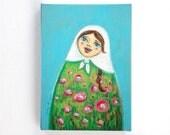 Folk art print / Singing Matryoshka illustration - pink flowers on a green dress.  canvas print 5 7 inch / folk art painting