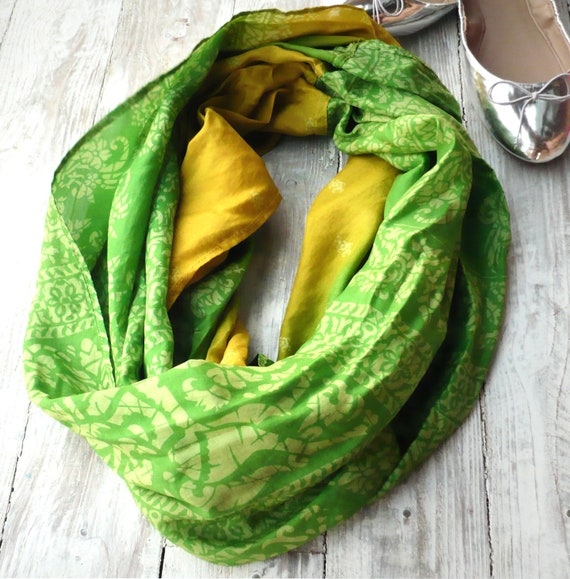 Infinity Scarf green and yellow recycled sari silk, Wearable Woman  accesories V
