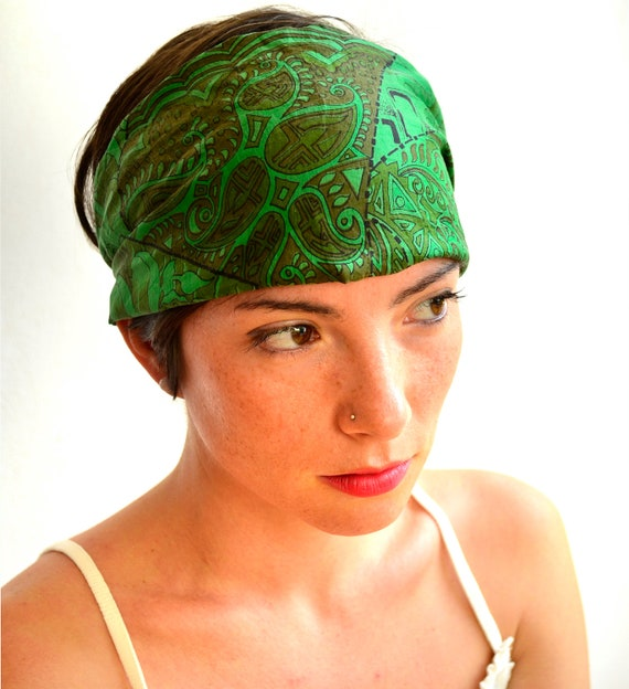 Wide Bohemian turban headband  hair wrapp Recycled sari silk