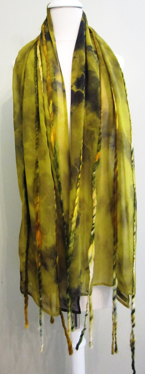 Silk Chiffon and Wool Scarf