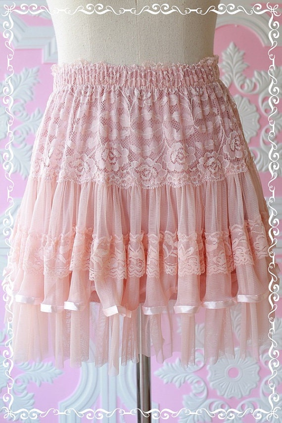 Fairy Tales Of Mine - Swing Ballet Skirt Soft Light Baby Pink Tutu Lacy Romance Adorable Sweet Lady Skirt