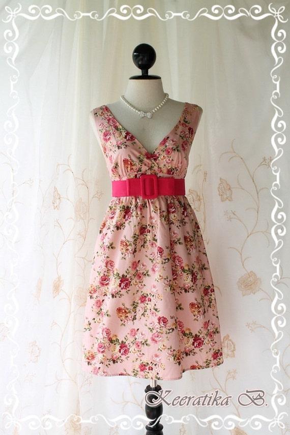 Miss Floral - Spring Summer Sundress Dust Powder Pink Nude Background Playful Floral Print Pink Belt S-M