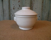 Chester Hotel Ironstone sugar bowl and lid with faces for handles